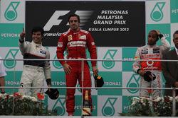 2nd place Sergio Perez, Sauber F1 Team and 1st place Fernando Alonso, Scuderia Ferrari and 3rd place Lewis Hamilton, McLaren Mercedes