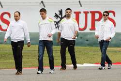 Paul di Resta, Sahara Force India F1 walks the circuit with Jules Bianchi, Sahara Force India F1 Team Third Driver