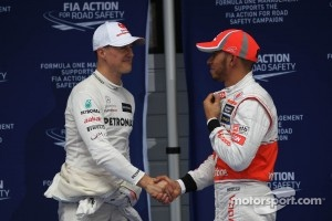 Michael Schumacher, Mercedes AMG F1 and Lewis Hamilton, McLaren Mercedes