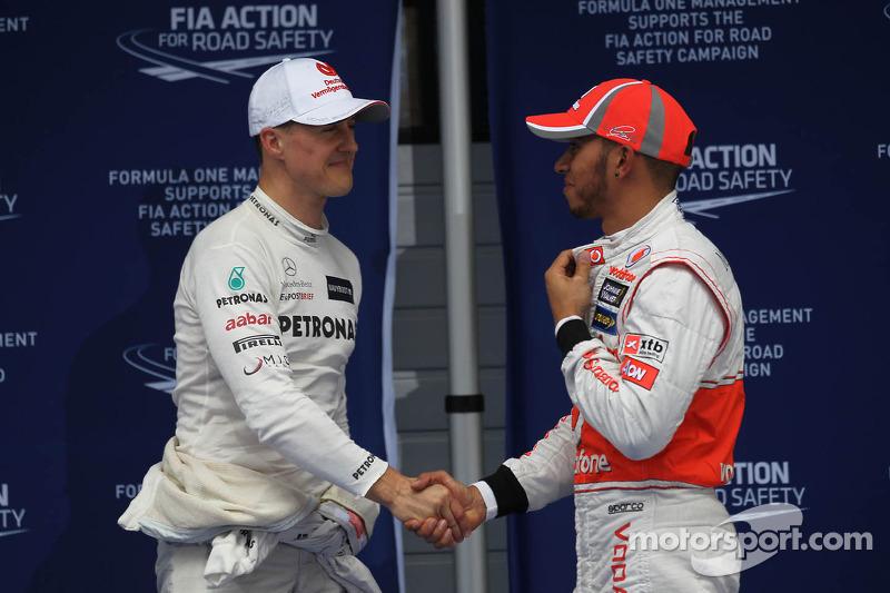 Michael Schumacher, Mercedes AMG F1 and Lewis Hamilton, McLaren Mercedes