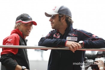 Charles Pic, Marussia F1 Team with Jean-Eric Vergne, Scuderia Toro Rosso on the drivers parade