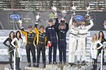 ALMS GT Challenge podium: winner Peter LeSaffre, Damien Faulkner, second place Cooper MacNeil, Leh Keen, third place Chris Cumming, Michael Valiante