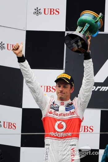 Podium: second place Jenson Button, McLaren