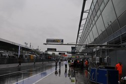 A damp and miserable pitlane