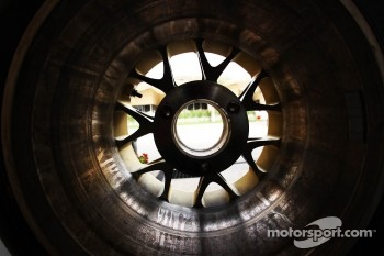 View of the paddock from inside a Pirelli tyre