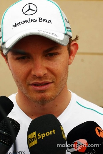 Nico Rosberg, Mercedes AMG F1 W03 with the media