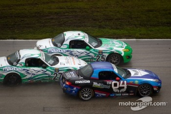 #27 Freedom Autosport Mazda MX-5: Steve Phillips, Tyler Cooke, #25 Freedom Autosport Mazda MX-5: Tom Long, Derek Whitis, #04 CJ Wilson Racing Mazda MX-5: Bruce Ledoux, Marc Miller