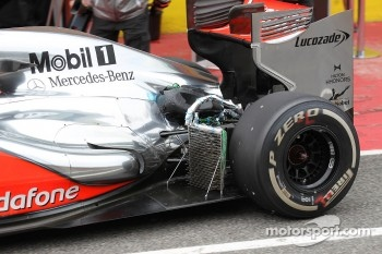 Oliver Turvey, McLaren Mercedes  running with aero sensor in front of rear wheel