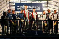 LMP2 podium: winners, Simon Dolan, Sam Hancock; second place John Martin, Robbie Kerr, Tor Graves; third place Warren Hughes, Jody Firth, Brendon Hartley
