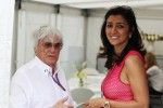 Bernie Ecclestone, CEO Formula One Group, with fiance Fabiana Flosi