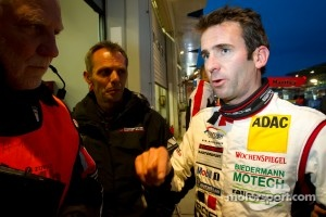 Romain Dumas talk with Roland Kussmaul after setting the fastest lap after setting the fastest lap