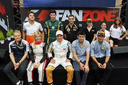 Drivers at the Fanzone, Sahara Force India F1 Team Third Driver; Alexander Rossi, Caterham Test Driver; Jérôme d'Ambrosio, Lotus F1 Team Third Driver; Valtteri Bottas, Williams Third Driver; Maria De Villota, Marussia F1 Team Test Driver; Dani Clos, HRT F