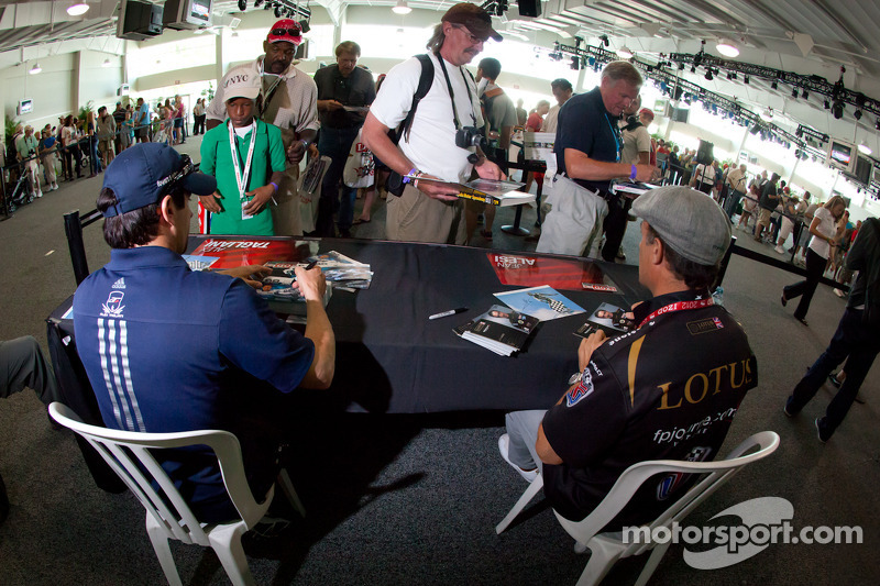 Alex Tagliani, Team Barracuda - BHA Honda and Jean Alesi, FP Journe – Fan Force United Lotus