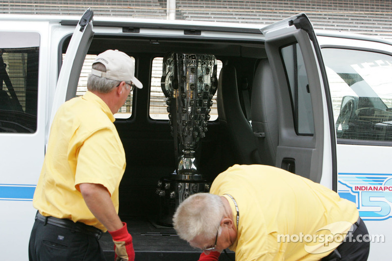 The Borg Warner Trophy arrives at the yard of bricks