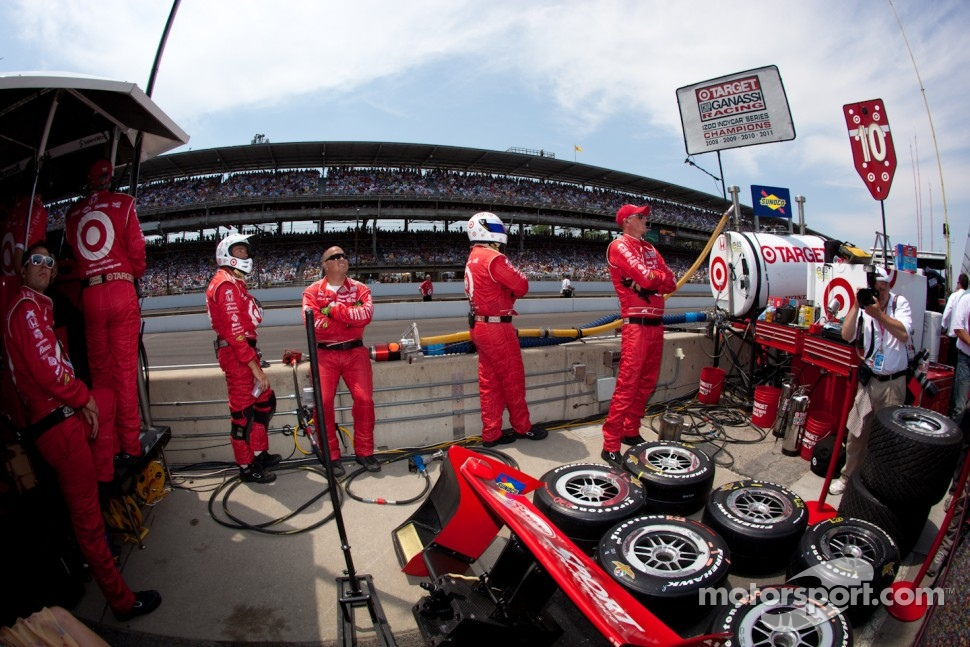 Target Chip Ganassi Racing team members watch the last moments of the race
