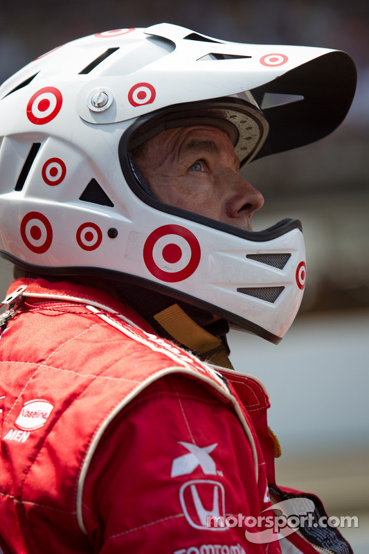 Target Chip Ganassi Racing Honda team member watches the end of the race