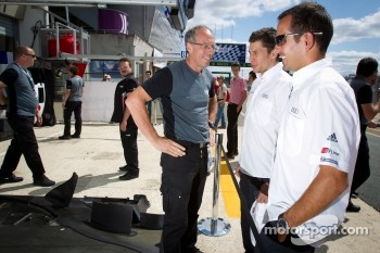 Loic Duval and Benoit Tréluyer visit Toyota Racing pit area