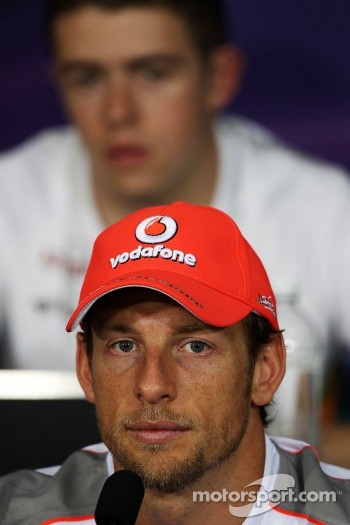 Jenson Button, McLaren Mercedes and Paul di Resta, Sahara Force India F1 in the FIA Press Conference