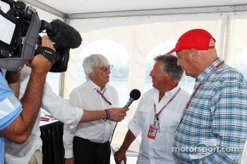 Bernie Ecclestone, CEO Formula One Group, with Mario Andretti, and Niki Lauda