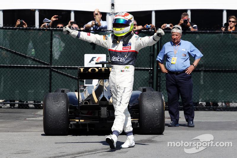 Sergio Perez, Sauber celebrates his third position in parc ferme