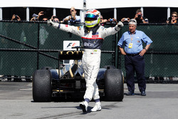 Sergio Perez, Sauber celebrates his third position in parc ferme