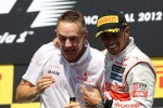 Race winner Lewis Hamilton, McLaren Mercedes celebrates on the podium with Martin Whitmarsh, McLaren Mercedes Chief Executive Officer
