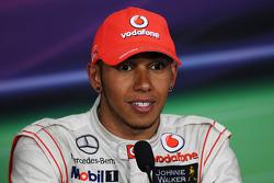 Race winner Lewis Hamilton, McLaren Mercedes in the FIA Press Conference