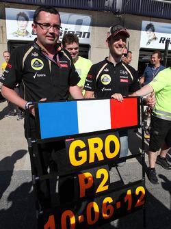 Eric Boullier and Romain Grosjean, Lotus F1 Team, and the team