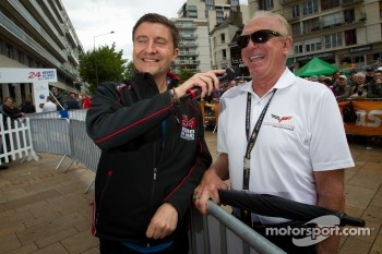 Le Mans announcer Bruno Vandestick and Corvette Racing Doug Fehan