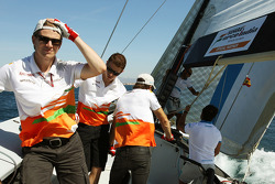 Nico Hulkenberg, Sahara Force India F1; Paul di Resta, Sahara Force India F1 and Jules Bianchi, Sahara Force India F1 Team Third Driver on the Aethra America's Cup Boat