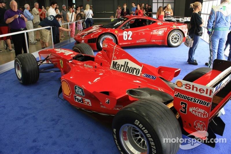 Ferrari F1-2000 and Ferrari458 Italia GRAND-AM on display at the 2012 Formula Expo
