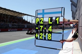 Mark Arnall, Physical Trainer, holds out a pit board for his driver Kimi Raikkonen, Lotus F1