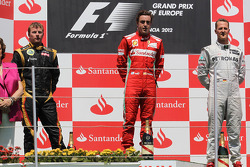 1st place Fernando Alonso, Scuderia Ferrari with 2nd place Kimi Raikkonen, Lotus Renault F1 Team and 3rd place Michael Schumacher, Mercedes AMG Petronas