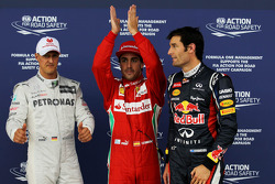 pole position for Fernando Alonso, Scuderia Ferrari 2nd place Mark Webber, Red Bull Racing with 3rd place Michael Schumacher, Mercedes AMG Petronas  07