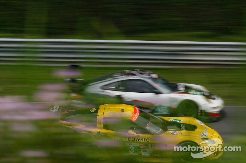 #3 Corvette Racing  Chevrolet Corvette C6 ZR1: Jan Magnussen, Antonio Garcia #48 Paul Miller Racing Porsche 911 GT3 RSR: Bryce Miller, Sascha Maassen