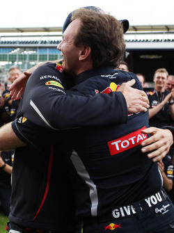 race winner Mark Webber, Red Bull Racing celebrates with Christian Horner, Red Bull Racing Team Principal