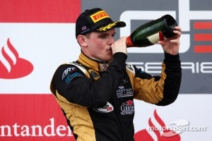 Conor Daly celebrates after a runner-up finish at Silverstone last week
