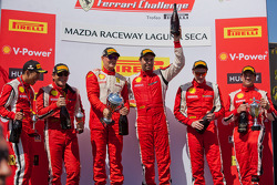 Race #1 Winners. 458 TP podium: first place Alex Popow, second place Onofrio Triarsi, thrid place Harry Cheung.  458 CS podium: first place Ryan Ockey, second place Damon Ockey, thrid place Robert Herjavec.