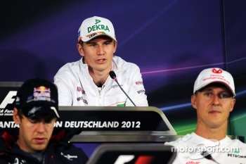 Nico Hulkenberg, Sahara Force India F1 in the FIA Press Conference with Sebastian Vettel, Red Bull Racing and Michael Schumacher, Mercedes AMG F1