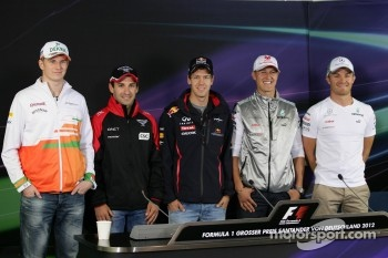 Nico Hulkenberg, Sahara Force India Formula One Team, Timo Glock, Marussia F1 Team, Sebastian Vettel, Red Bull Racing, Michael Schumacher, Mercedes GP, Nico Rosberg, Mercedes GP