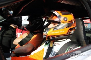 Jules Bianchi, Sahara Force India F1 Team Third Driver gives taxi rides around the circuit