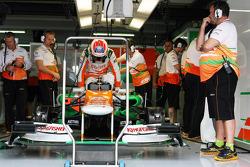 Paul di Resta, climbs into his Sahara Force India