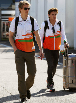 Nico Hulkenberg, Sahara Force India F1 and Jules Bianchi, Sahara Force India F1 Team Third Driver arrive at the circuit