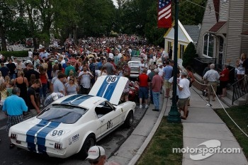 Fans pack the streets of Elkhart Lake for the Friday Concours.