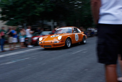 Race cars leave Elkhart Lake after the Friday Concours.  #3 1973 Porsche 911 RS: Bruce Boeder