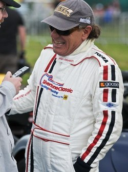 Brian Johnson being interviewed by Motorsport.com's Stephen Errity