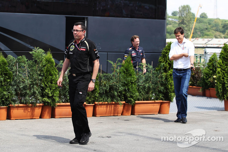 Eric Boullier, Lotus F1 Team Principal; Toto Wolff, Williams Non Executive Director and Christian Horner, Red Bull Racing Team Principal leave a meeting with Bernie Ecclestone, CEO Formula One Group