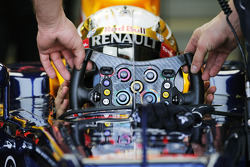 Sebastian Vettel, Red Bull Racing receives his steering wheel