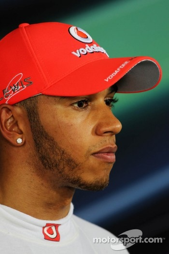 Pole sitter Lewis Hamilton, McLaren in the FIA Press Conference