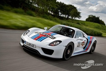 The Porsche 918 Spyder in Martini Racing colors